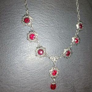 '1928' elegant red stone & dark metal necklace